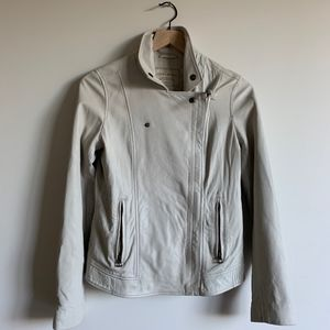 Lucky brand white lamb leather moto jacket xs